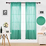 Deconovo Gorgeous Solid Faux India Cotton Linen Look Sheer Crinkled Voile Panles for Kids Room 42W x 63L Inch Teal Set of 2