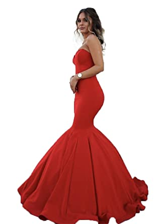 a0f710ce553a YuNuo Sleeveless Mermaid Red Long Formal Dresses 2019 Sweetheart Long Sexy  Prom Dress at Amazon Women's Clothing store: