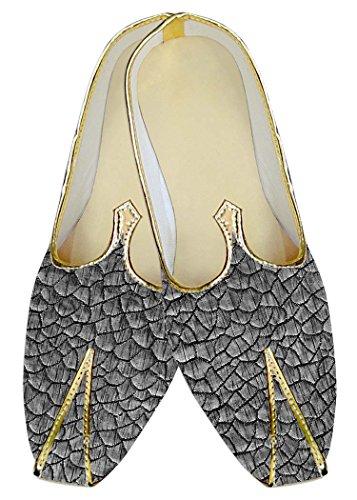 INMONARCH Bodas de Plata Hombres Zapatos Patrón de Piel de Pescado MJ018017
