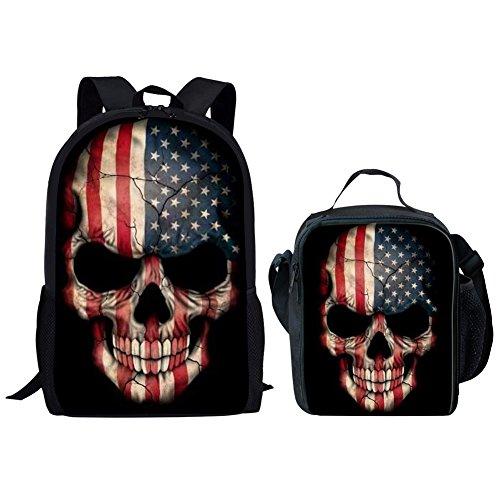 9b9f92cb210 Amazon.com   UNICEU Kids Blue Skull Backpack with Insulted Lunch Bag Set  Children Shoulder Bookbag for Primary Elementary Middle School Bag   Kids   ...