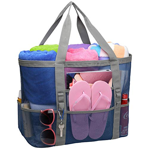 Beach Bag, F-color Mesh Beach Bag Oversized Beach Tote 9 Pockets Beach Toy Bag