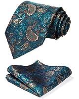 HISDERN Paisley Tie Handkerchief Woven Classic Men's Necktie & Pocket Square Set