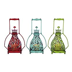 Benzara Metal Candle Holder Assorted with Vibrant Colors, Set of 3