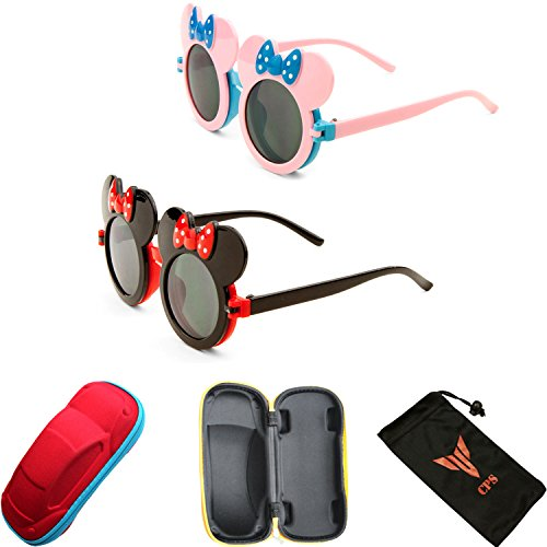 [2 Pairs Kid Cute Colored Mouse Ears Flip Up Sunglasses Clear Blk Lens Mickey Minnie Bow] (Minnie Mouse Costume Nerd)