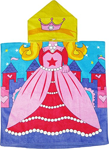 Princess 100% Cotton Poncho Style Hooded Bath & Beach Towel with Colorful Double Sized (Princess Hooded Bath)
