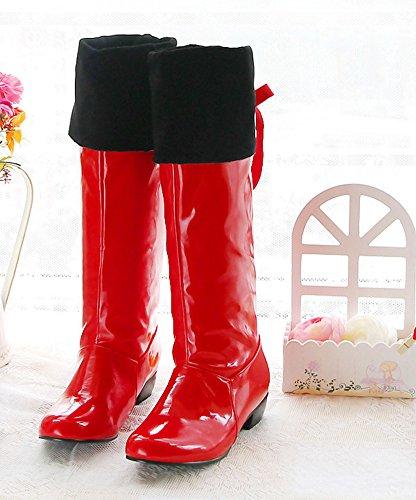 Aisun Damen Lack Kunstleder Runde Zehen Schnürung Schleife Blockabsatz Langschaft Overknee Stiefel Rot