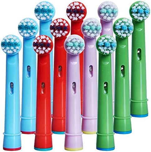 Kids Toothbrush Replacement Heads for Oral-B, Extra-Soft Bristles, Fits Both Electric and Battery Braun Oral-B Brushes, Except Vitality Sonic, CrossActino Power, Sonic Complete, Pulsonics, EB-10A
