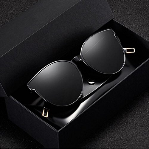 Box Gafas Blue Love Mr Gafas Color Polarized HLMMM Sea Sol Negro Big GM de Sol Redondo Sra Gafas Negro Marco con de 0xUqCO