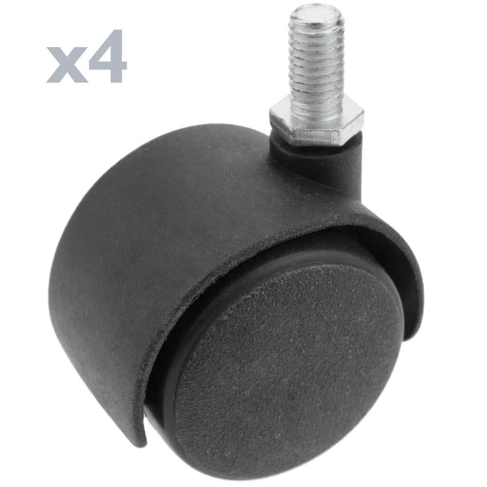 PrimeMatik - Wheel swivel castor of nylon without brake 40 mm M6 4 pack PrimeMatik.com