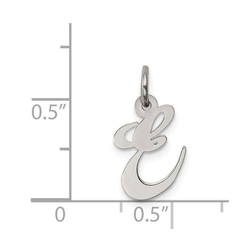 Mia Diamonds 925 Sterling Silver Small Fancy Script initial E Charm
