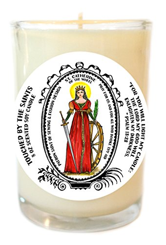 St Catherine of the Wheel for Sewing & Fashion Design 8 Oz Soy Glass Candle by Touched By The Saints