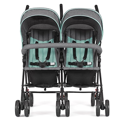 51RlKWL15TL - Dream On Me Volgo Twin Umbrella Stroller, Mint/Dark Grey
