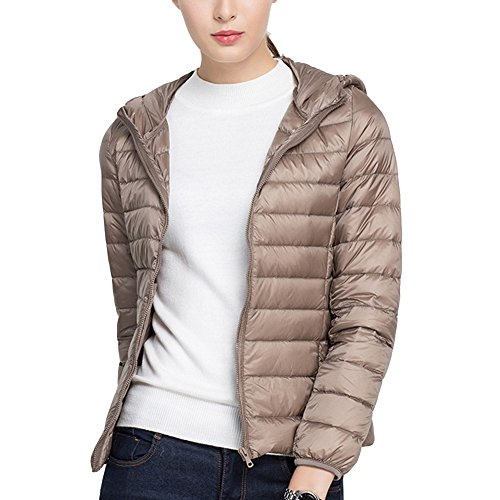 Ultra Winter Slim Light mujer's Casual Jacket Down Coat Zhhlaixing Khaki With Hood Fashion Lady's W8q0w77XE