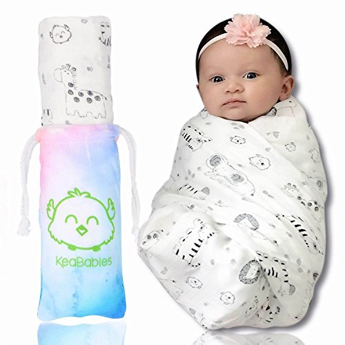 Bamboo Baby Swaddle Blanket - Organic Bamboo Swaddle Blankets for Boys and Girls - Swaddling Blankets - Baby Receiving Blankets for Babies, Newborns - Baby Registry (KeaSafari)