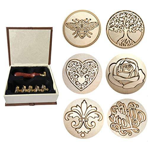 Wax Sealing Stamp, Moorlando 6PCS Sealing Wax Stamp Brass Heads + 1PC Wooden Handle with a Gift Box for Invitations Letters Envelopes Wax - Stamper Wax Seal