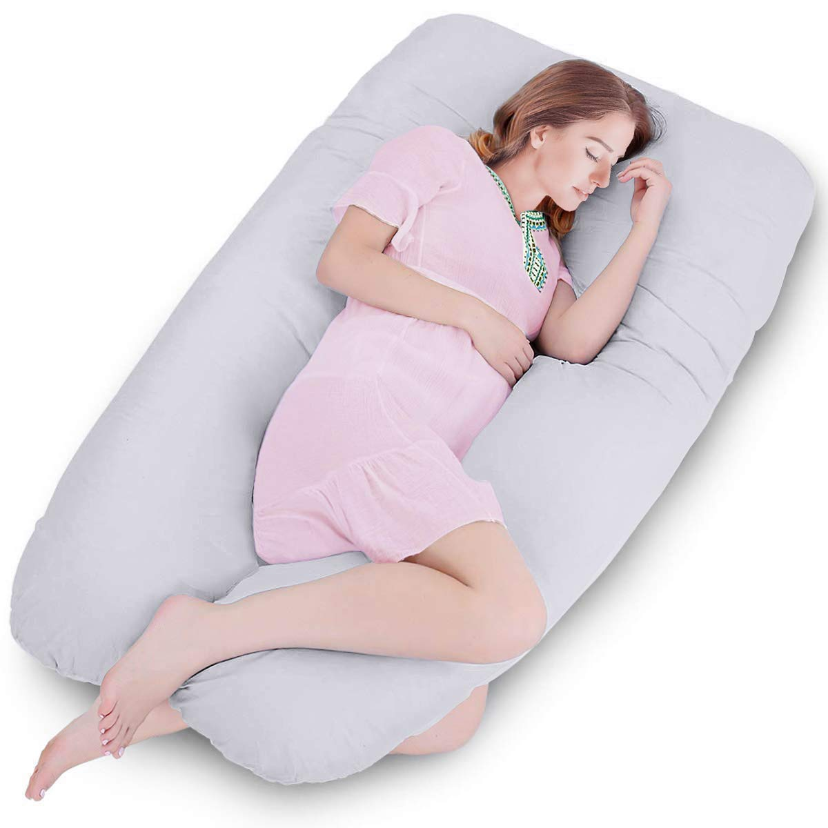 Amagoing 57 inches Pregnancy Pillow, U Shaped Maternity Full Body Pillow for Women with Hip, Leg, Back Pain, Washable Cotton Cover Included (Grey)