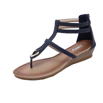 Été Tongs en Cuir,Overdose Bohême Sandales Plates Femme Grande Taille Chaussures Bride Cheville Casual Comfort Flat