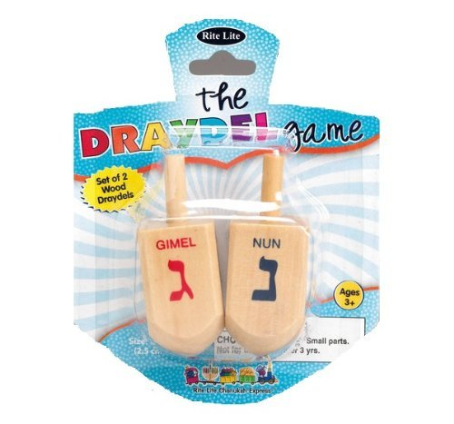 Rite Lite DR-16028 The Draydel Game - 2 Large Natural Wood Draydels