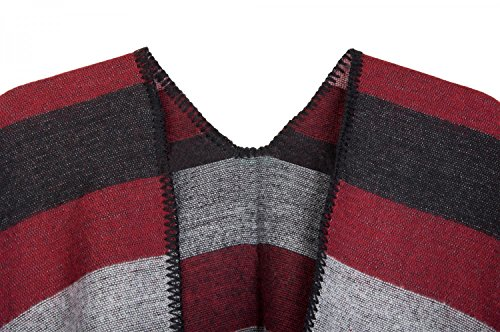 styleBREAKER - Poncho - capa - Rayas - para mujer - Schwarz-Grau-Rot