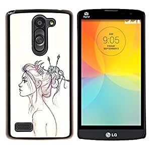 YiPhone /// Prima de resorte delgada de la cubierta del caso de Shell Armor - Retrato a lápiz de dibujo Fashion Art - LG L Prime D337 / L Bello D337