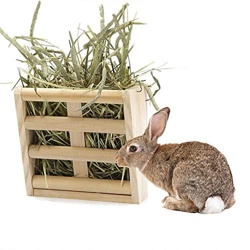 dSNAPoutof Rabbit Fodder Hay Feeder Manger Rack Stand Food Bowl Guinea Pig Pet Grass Holder - Wood Color