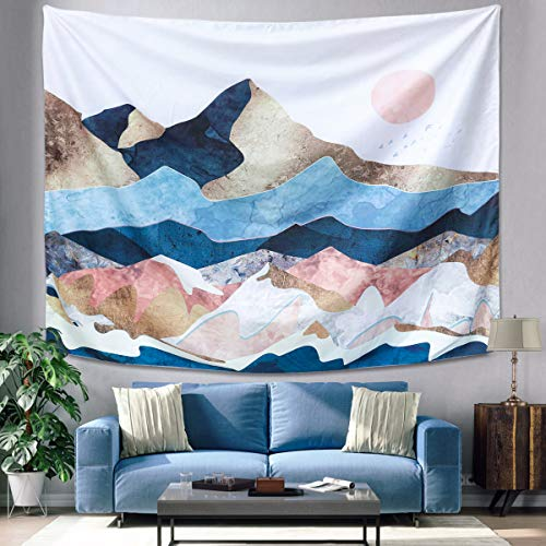 "GOCHANGE Mountain Sunset Tapestry, Color Mountain Wall Hanging Tapestry, Sunset Nature Landscape Art Wall Hanging, Mural for Bedroom, Living Room, Dorm, Home Decoration (51.2"" x 59.1"")"