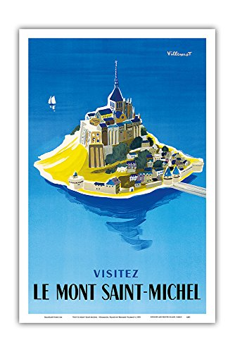 Normandy Master - Pacifica Island Art Visit Le Mont Saint-Michel - Normandy, France - Vintage World Travel Poster by Bernard Villemot c.1955 - Master Art Print - 12in x 18in