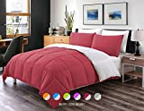 Luxe Bedding 3-PCS Reversible Down Alternative Quilted Duvet / Comforter Set - All Season Hotel Quality (Full/Queen, Burgundy / Gray)