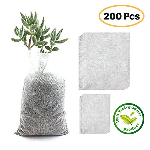 Planting Tree Seedlings (200Pcs Biodegradable Nursery Bags Plant Grow Bags Non-woven Degradable Fabric Seedling Pots)