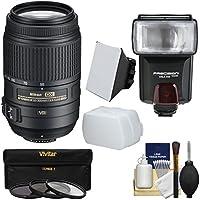 Nikon 55-300mm f/4.5-5.6G VR DX AF-S ED Zoom-Nikkor Lens with 3 Filters + Flash & 2 Diffusers Kit for D3200, D3300, D5300, D5500, D7100, D7200 Cameras