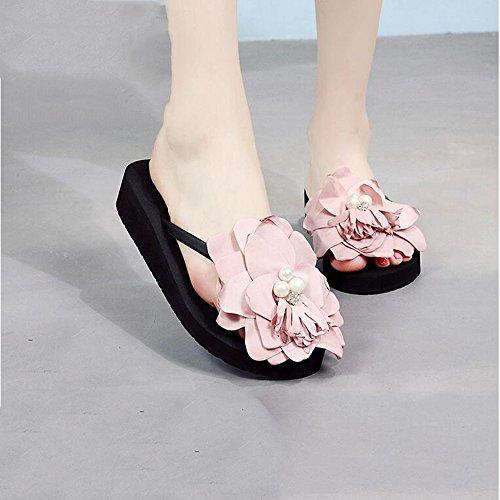 Flores Playa Negro Gray LIXIONG Tamaño Perlas Zapatos Sandalias Y EU3 Marrón Black Pantuflas 7cmFemale De De de Color Beige Zapatillas Zapatos 3CM Portátil Gris Verano 7CM 3cm Vacaciones moda rSwqz4xYZS