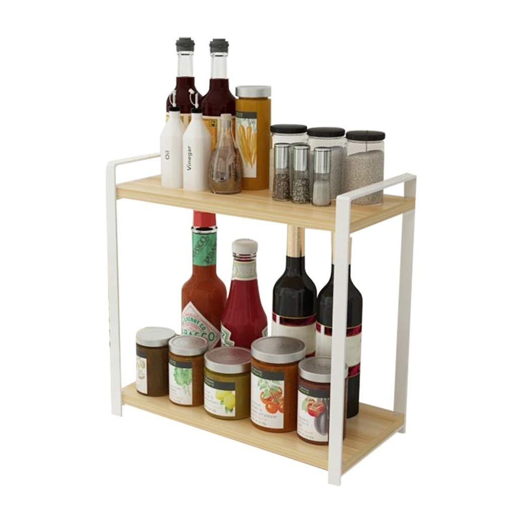 Color : White Rack De Stockage De Condiments pour /Étag/ère De Cuisine en M/étal Solide Durable Bonne Capacit/é De Charge Blanc Noir FKYGDQ