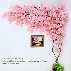 Artificial Cherry Blossom Tree Wall Pipe Interior Decoration Background Cherry Blossom Cane Fake Flowers Fake Vine Vines Make Sc,Type C 2