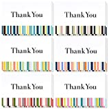 Thank You Cards - 48-Count Thank You Notes, Bulk Thank You Cards Set - Blank on the Inside, Colorful Stripe Designs – Includes Thank You Cards and Envelopes, 4 x 6 Inches