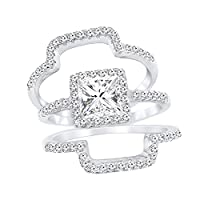 Sterling Silver Promise Ring Princess Cut Cubic Zirconia Triple Band