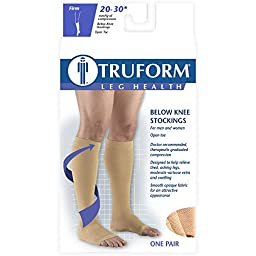 Truform Open Toe, Knee High 20-30 mmHg Compression Stockings, Beige, Large