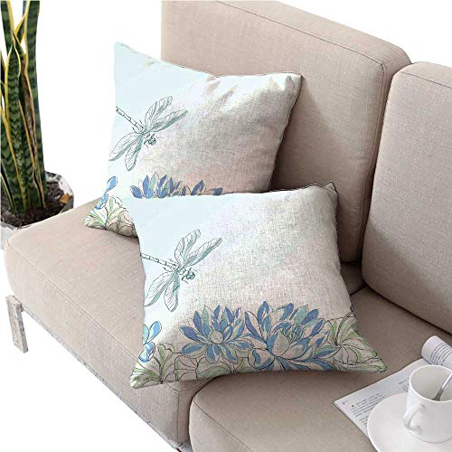 warmfamily Dragonflycouch Pillow coversWaterlilies Flowers and Dragonflies Simplistic Design Eco Nature Theme ArtworkSquare Cushion Case 20