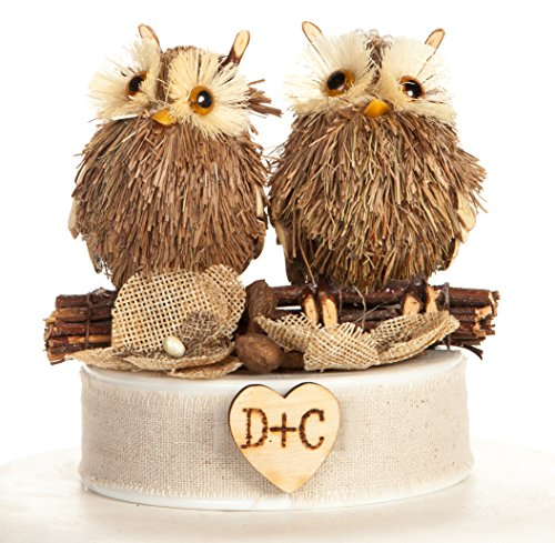 Wedding Collectibles Personalized Rustic Owl Cake Topper - Brown Burlap Flowers (Wedding Owl Cake Topper)