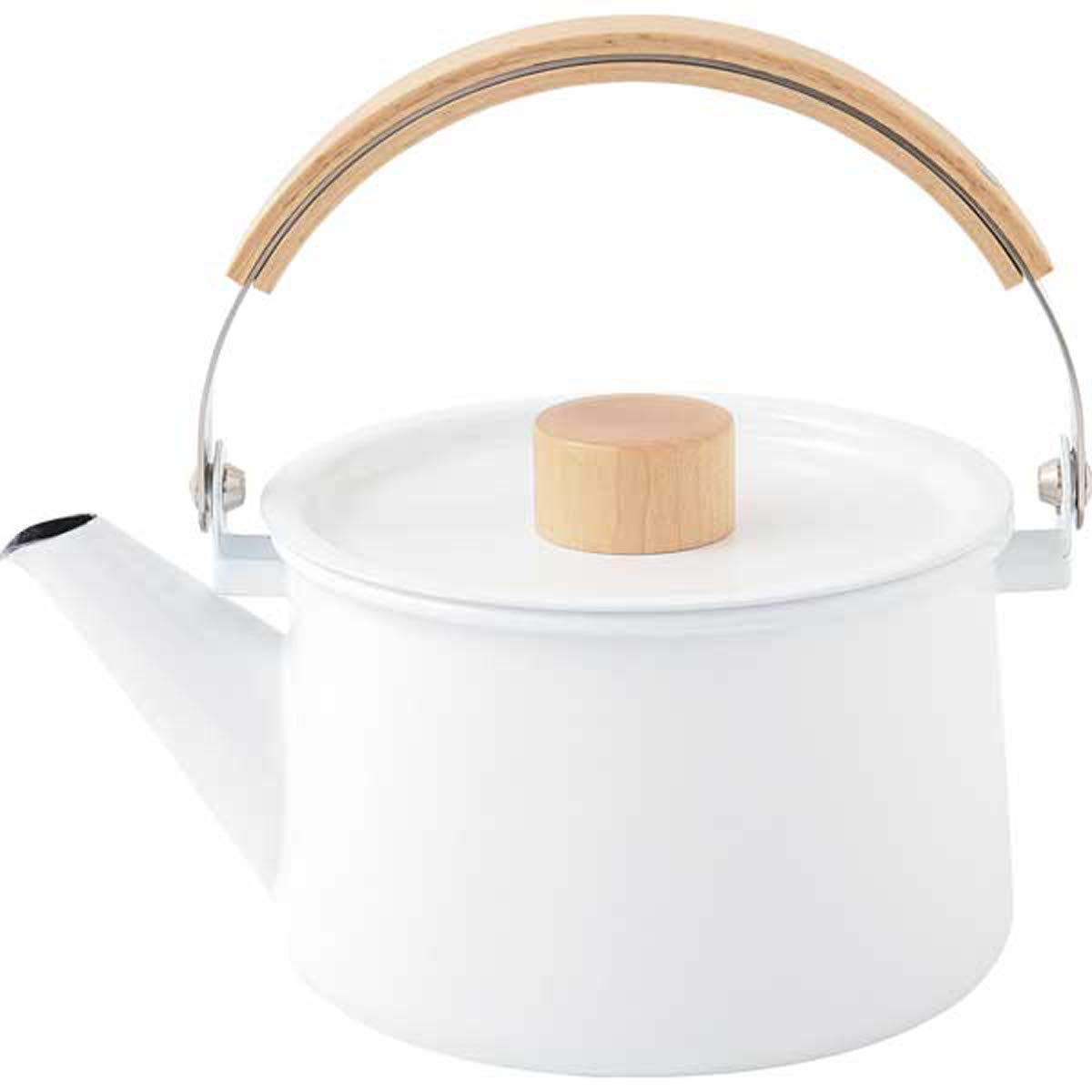 Kaico Kettle 1.45L(49oz) By Makoto Koizumi Spotless Enamel-Coated Steel Stunning Beech Wood Handle Maple Knob Clean Minimalist Design Brightening Kitchen