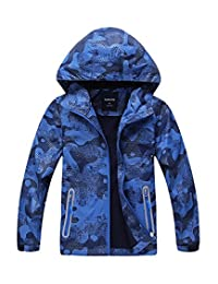 Hiheart Boys Windproof Polar Fleece Lined Coat Outdoor Padded Jacket with Hood
