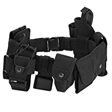 Antwalking Outdoor Multifunction Tactical Belt Security Police Guard Utility Kit Nylon Duty Belt System Black