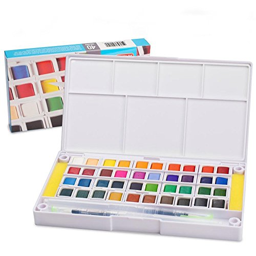 (Watercolor Paint Set,40 Colors Watercolors Field Sketch Set with Brush - Travel Case Includes 2 Water Brushs - 2 Sponges - 1 Mixing Palette, Perfect for Painting)