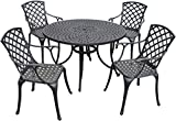Crosley Furniture Sedona 48-Inch Five Piece Cast Aluminum Outdoor Dining Set with High Back Arm Chairs in Black Finish