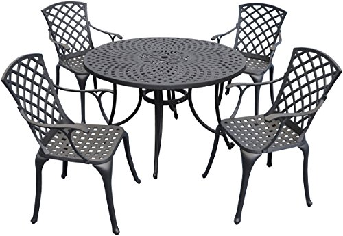 Crosley Furniture Sedona 48-Inch Five Piece Cast Aluminum Outdoor Dining Set with High Back Arm Chairs in Black Finish Review