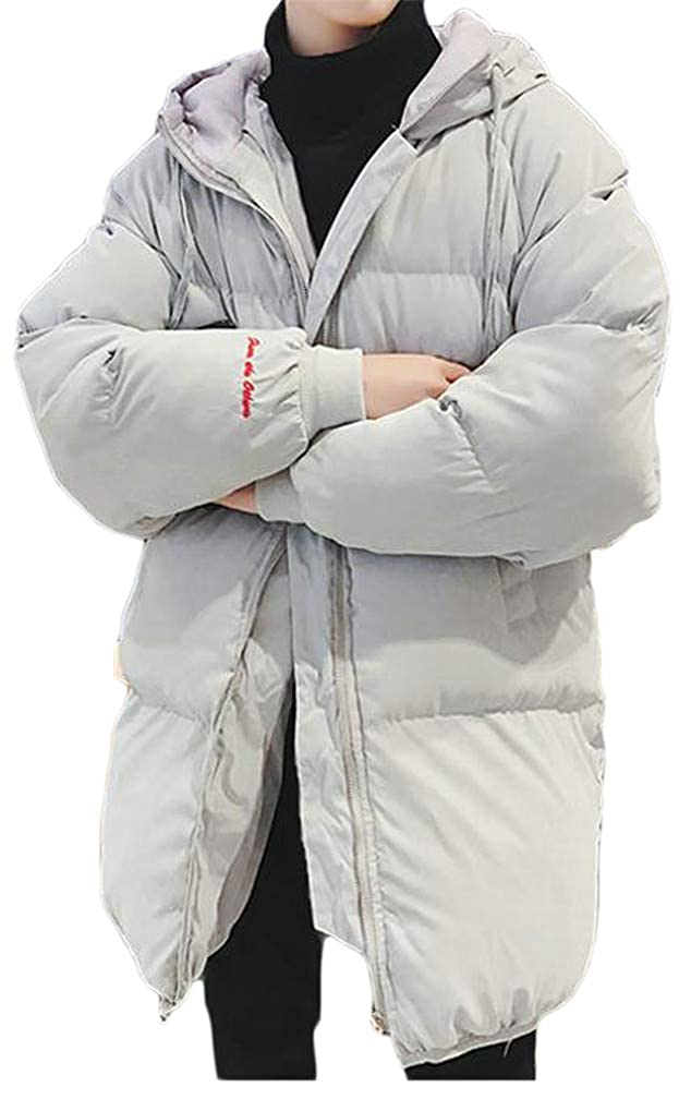 Pandapang Mens Drawstring Quilted Thicken Pocket Hoody Classic Jacket Parka Coat