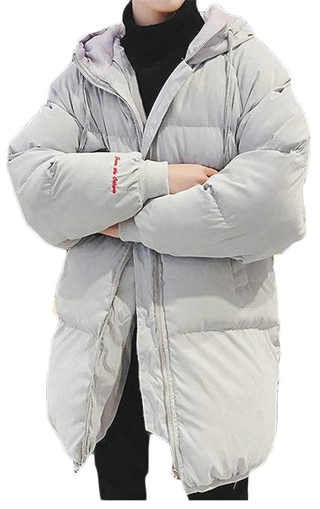 Wofupowga Men Hoody Thicken Drawstring Quilted Pocket Fashion Jacket Parka Coat