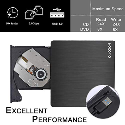 External DVD Drive for Laptop - USB 3.0 Portable Slim Burner Suitable for Compact Disc CD-R/DVD+R/DVD-R/DVD+R DL and Rewritable Disc CD-RW/DVD-RW/DVD+RW(Black) by HOCOMO (Image #4)