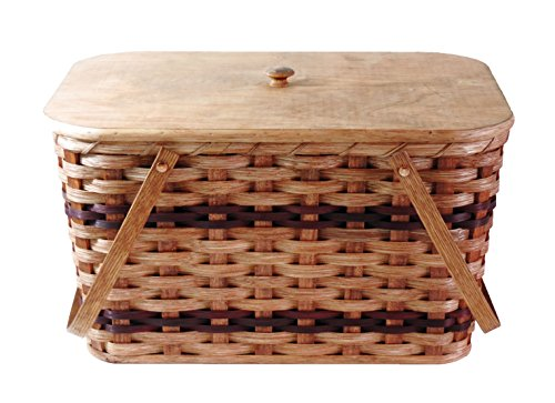 Amish Handmade Large Picnic Basket w/Divider Tray, Lid, and Two Swinging Carrier Handles in Wine