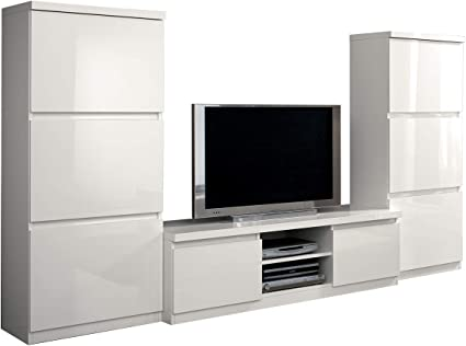 Mf Set Soggiorno Porta Tv Roma Bianco Laccato Lucido 280 X 50 X H154 Cm Amazon It Casa E Cucina