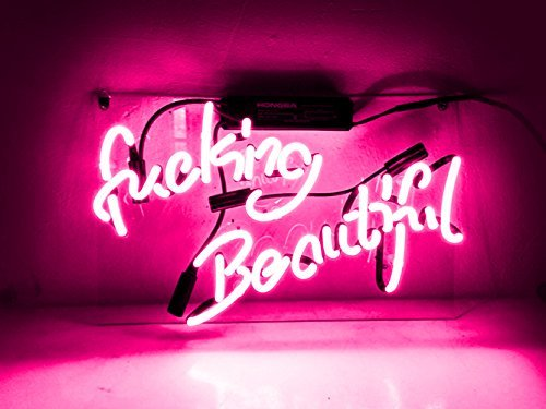 (Neon Signs Neon Sign Neon Light Sign for Wall Decor Bedroom Beer Bar Love Led Light Up Lamp Garage Halloween Signs (Pink/Fucking Beautiful))